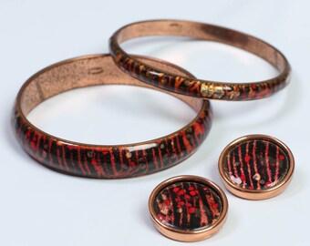vintage MATISSE RENOIR signed SET copper enamel bangle bracelet clip on earrings 1950s 50s