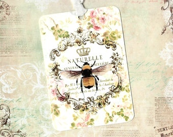 Tags, Bee Tag, French Bee, Abeille Tags, Gift Tags, Labels, Crowned Bee