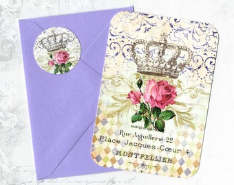 Note Cards, French Style, Roses, French Crown, Stickers, Flat Note Cards, Set of 4