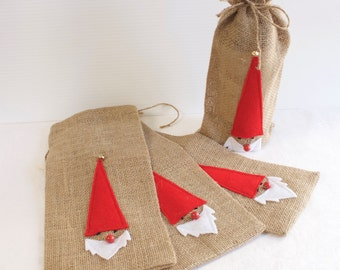 Burlap Santa or Elf Wine Bottle Christmas Gift Bag - Scandinavian Christmas