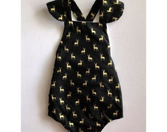 Black and gold reindeer romper, sunsuit, playsuit