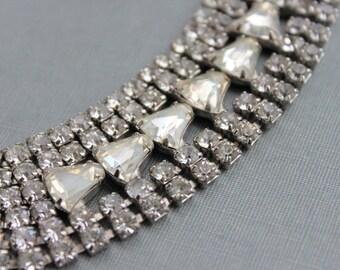 Wide Diamond Paste Bracelet / Vintage Rhinestone Wedding Bracelet