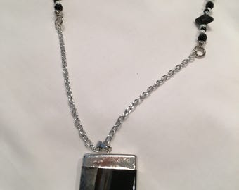 Black and White Necklace with black pendant
