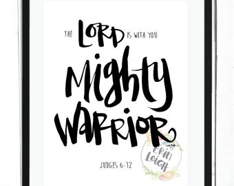The Lord is with you, mighty warrior, Judges 6:12, boys room wall art, boy's room Bible verse print, tween boy's room art, teen boy's art