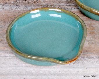 Aqua Spoon Rest. Handmade Ceramic Pottery. Stoneware Pottery. Wheel thrown pottery.