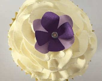 Flower Cupcake Toppers - Garden Party, Weddings, Showers, Custom Colors