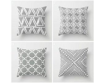 Gray Throw Pillow - Modern Throw Pillow - Gray Cushion - Geometric Pillow - White Triangle - Throw Pillow 16 18 20 24 inch