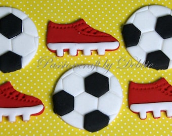 12 Fondant edible cupcake toppers - Soccer ball and cleats sports anniversary birthday boy celebration