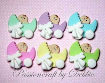 12 Baby shower fondant edible cupcake toppers - Baby in carriage baby boy baby girl celebration
