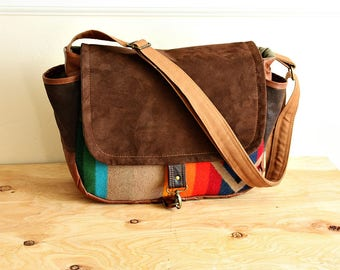 Camera bag /Messenger made with Oregon fabric & reclaimed leather/ multiple pockets --Ready To Ship--