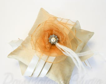 Gold Glamour // Silk Wedding Pillow with Handmade Organza Flower // Pearl & Rhinestone Button, Ostrich Feather // 1920 Flapper, Gatsby Theme