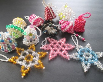 Bead Christmas Ornaments * Vintage 70s * Handmade * Tree Trimming * Lot Of Twelve BELLS, STARS, TEAPOT, Lantern