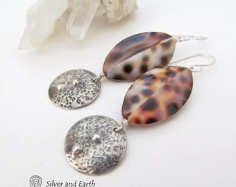 Hammered Silver Earrings, Sterling Silver, Cowrie Shell Earrings, Leopard Print, Natural Shell Jewelry, Earthy Boho Tribal Bohemian Jewelry