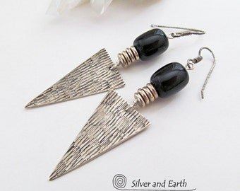 Onyx Sterling Silver Earrings, Black Onyx Earrings, Bold Geometric Edgy Modern Handmade Silver Jewelry, Black & Silver, Triangle Earrings