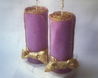 Set of 2 Gold Glitter Candles You Pick Color, Unique Candle Gift, Holiday Candle, Christmas Candles, Decorative Candles, Shabby Chic Candles