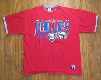 Vintage Philadelphia Phillies logo 7 double cuff t shirt baseball red extra large