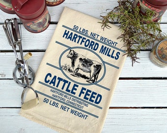 Flour Sack,  Feed Sack, Feed Sack Towel, Kitchen Towel, Cotton Towel, Cattle Dish Towel,  Tea Towel, Cow Towel,  Hartford Mills Cattle Feed