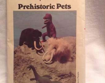 Vintage Butterick Prehistoric Pets Dinosaurs Sewing Pattern Stuffed Dolls 1970's uncut