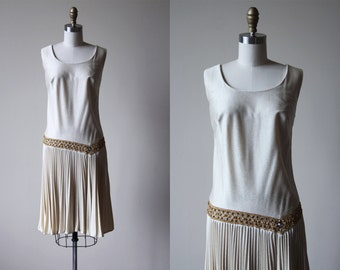 60s Dress - Vintage 1960s Dress - Ivory White Gold Rhinestone Embellished Flapper Flashback Party Dress M L - Gilded Crown Dress