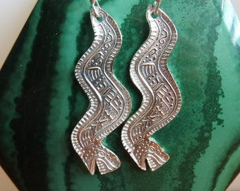 Fine Silver Rattlesnake Earrings from Ancient Mexican Design