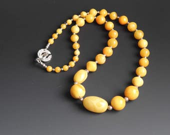 Butterscotch Amber Necklace - Genuine Baltic Amber with Fine Silver Clasp