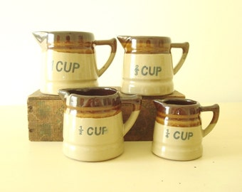 Vintage measuring cup set, four brown-glazed earthenware cups, 1 cup, 2/3 cup, 1/2 cup and 1/4 cup, country cooking, gift for chefs