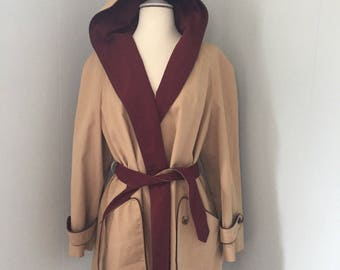 Vintage Etienne Aigner Hooded Khaki Trench Coat, Rain Jacket. Size 12. Leather Trim. Logo Printed Lining.