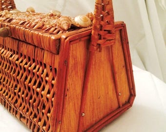 1940s Rattan Seashell Basket Handbag - Wicker Woven - Summer Purse