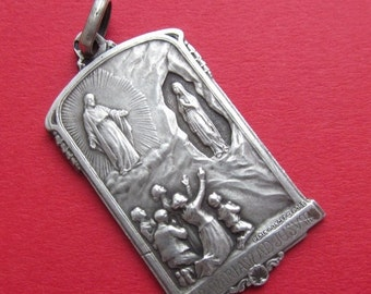 On Sale Antique Silver Religious Medal To Jesus Through Mary French Catholic Pendant Words Of The Virgin At Lourdes  SS338