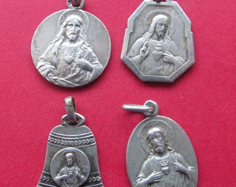 Jesus Antique Silver Catholic Religious Medals Four Piece Lot Virgin Mary Scapular Pendants     SS269