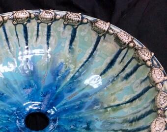 "MADE TO ORDER Handmade Custom Infinity Turtle or Sculptural Turtle Crystalline Glazed Vessel Sink 15"" in Diameter or Less"
