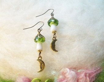 Mushroom Earrings Green Magic Mushroom Crescent Moon Enchanting Woodland Toadstool Beaded Earrings Handmade Beaded Earrings