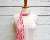 Skinny Scarf, Coral Skinny Scarf, Neck Tie for Women, Long Coral Pink Scarf, Floral Scarf, Choker Scarf, Head Wrap, Spring Scarf. Jannysgirl