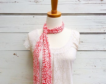 Skinny Scarf, Coral Skinny Scarf, Neck Tie for Women, Long Coral Pink Scarf, Floral Scarf, Choker Scarf, Head Wrap, Spring Scarf