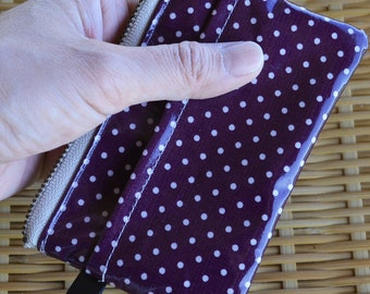 Oilcloth Card Wallet, Coin Purs, ID Wallet, Business Card Case - Glossy Purple Polkadots