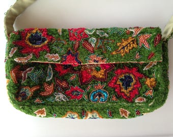 Vintage Hand Embroidered Wool Silk Beaded Evening Clutch with Strap