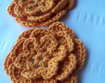 Crocheted flower 3 inch orange set of 2 flowers flower motif