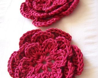 Crocheted flower 3 inch red cotton set of 2 flowers flower motif