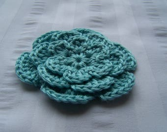 Crochet flower 3 inch Pima cotton cool mint set of one flower