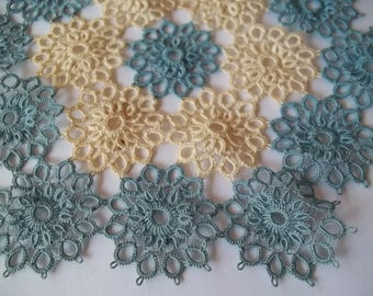 Vintage pre 1930's Blue and Beige Tatted Doily Seven Inch nice Tatting Handmade piece