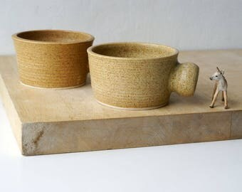Set of two wide stoneware soup mugs - glazed in natural brown
