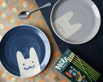 Two blue and grey kitty plates - handmade cute coupe style stoneware plates