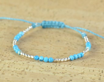Sterling silver and turquoise bracelet.Silver Thread Bracelet, Friendship Bracelet ,Sterling Silver Friendship Bracelet,Cord Bracelet