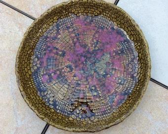 Stoneware Lace Art Bowl Pasta Bowl 10 inch Ceramic Bread Basket Bowl