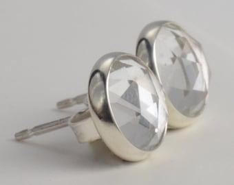clear quartz 8mm rose cut sterling silver stud earrings pair