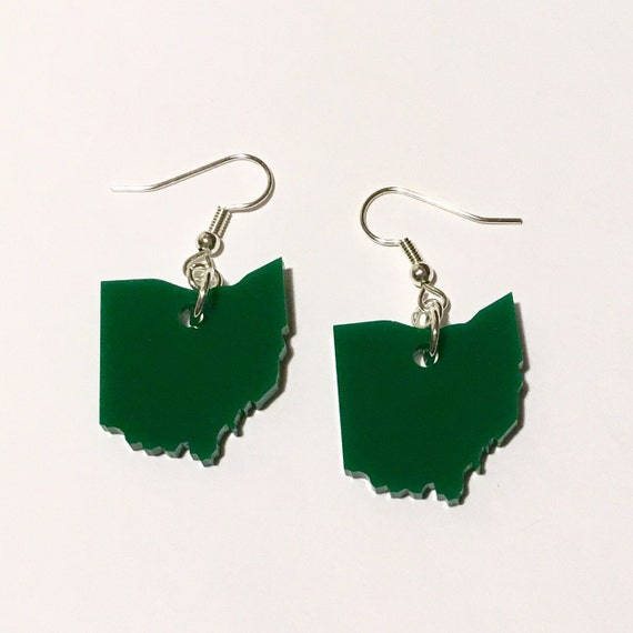 Ohio Earrings, Green Acrylic Laser-Cut State Jewelry