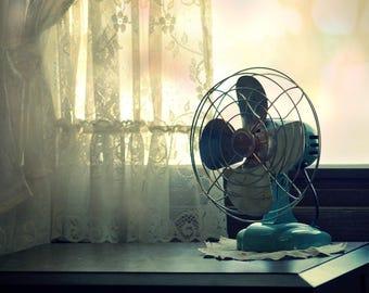 Spring Memory, metal fan, lace curtains, sunrise, Fine Art Photograph, 8x10