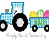 Tractor Easter Egg Wagon Machine Embroidery Applique Design