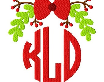 Christmas Holly Bow Monogram Topper Machine Embroidery Design