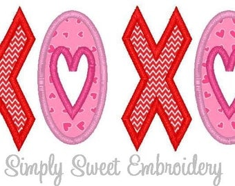XOXO Machine Embroidery Applique Design